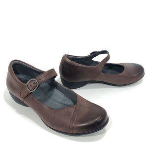 Dansko Maroon Burnished Leather Mary Jane Shoes